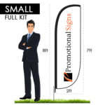 8ft Feather Flag Kit (7ft Custom Banner Print) with Ground Stake