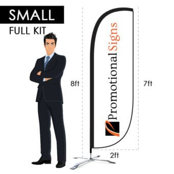 8ft Advertising Flag Kit (7ft Custom Banner Print) with X-Base