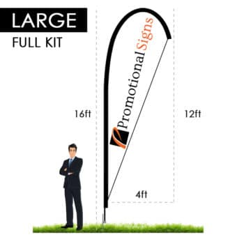 16ft Teardrop Flag Kit (12ft Custom Banner Print) with Ground Stake