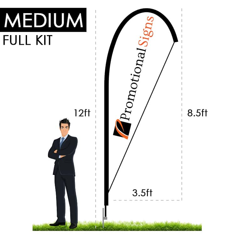 Teardrop Flag Banner Kit (12 ft Pole/8.5 ft Flag) with Ground Stake