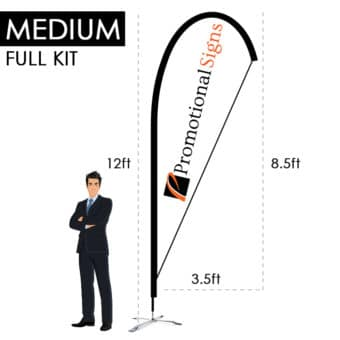 12ft Teardrop Flag Kit (8.5ft Custom Banner Print) with X-Base
