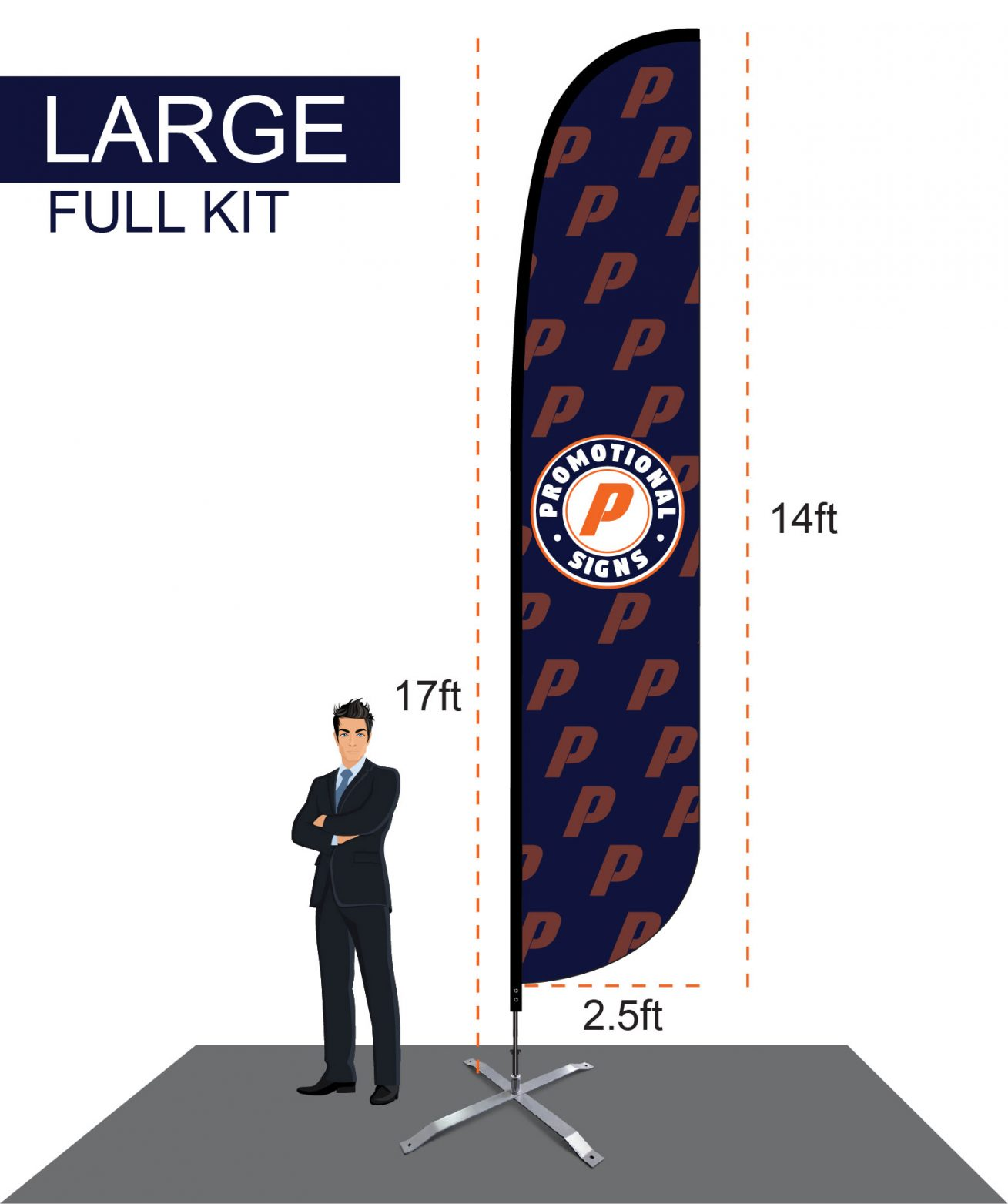 Large Feather Flag Banner Kit 17 Ft Pole 14 Ft Flag With X Base Stand Promotional Signs Llc