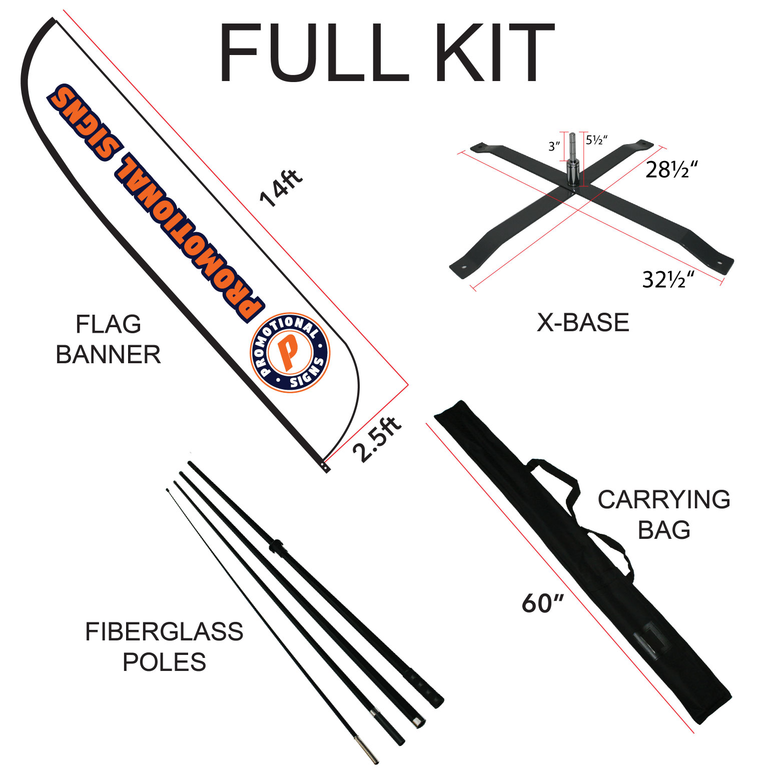 Telescopic Aluminum Rod Outdoor Backpack Pole Bag Kit For Feather Banner Flag